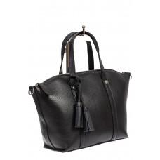На фото 1 - Небольшая сумка-трапеция из натуральной кожи с подвеской-кисточкой, цвет чёрный