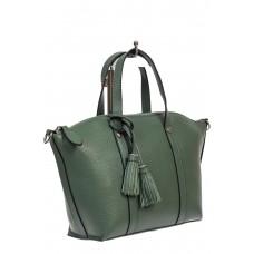 На фото 1 - Небольшая сумка-трапеция из натуральной кожи с подвеской-кисточкой, цвет бирюзовый