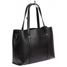 На фото 1 - Женская сумка-тоут из фактурной натуральной кожи, чёрный цвет