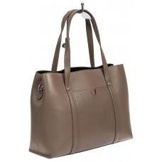 На фото 1 - Женская сумка-тоут из фактурной натуральной кожи, цвет какао