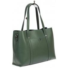 На фото 1 - Женская сумка-тоут из фактурной натуральной кожи, бирюзовый цвет