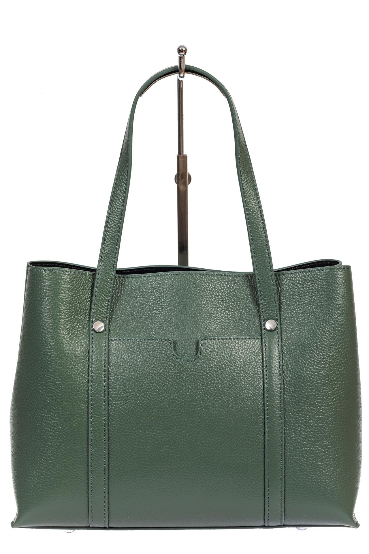 На фото 2 - Женская сумка-тоут из фактурной натуральной кожи, бирюзовый цвет