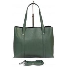 На фото 3 - Женская сумка-тоут из фактурной натуральной кожи, бирюзовый цвет