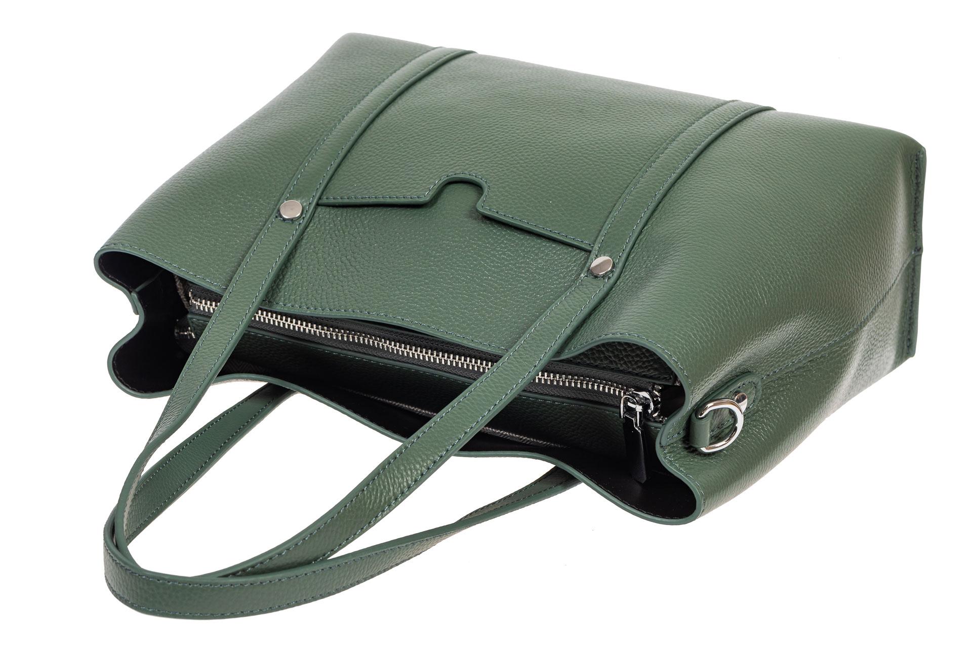 На фото 4 - Женская сумка-тоут из фактурной натуральной кожи, бирюзовый цвет