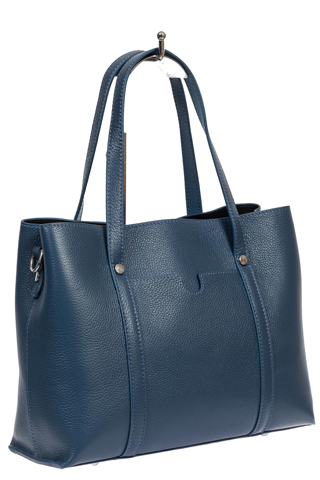 На фото 1 - Женская сумка-тоут из фактурной натуральной кожи, синий цвет