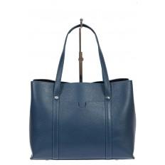 На фото 2 - Женская сумка-тоут из фактурной натуральной кожи, синий цвет