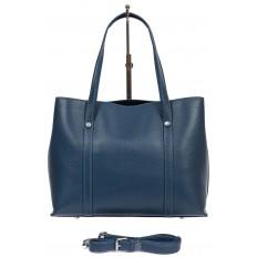 На фото 3 - Женская сумка-тоут из фактурной натуральной кожи, синий цвет