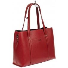 На фото 1 - Женская сумка-тоут из фактурной натуральной кожи, красный цвет