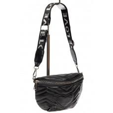На фото 1 - Женская сумка-бананка из мягкой искусственной кожи, цвет чёрный