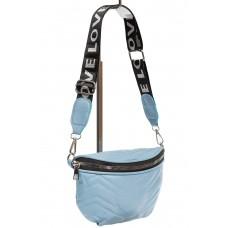 На фото 1 - Женская сумка-бананка из мягкой искусственной кожи, цвет голубой