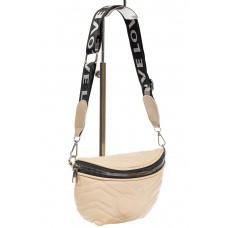 На фото 1 - Женская сумка-бананка из мягкой искусственной кожи, цвет молочный