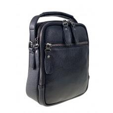 На фото 1 - Маленькая кожаная сумка под документы для мужчин, цвет чёрный