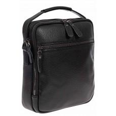 На фото 1 - Классическая мужская сумка из натуральной кожи, цвет чёрный