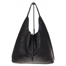 На фото 2 - Большая сумка хобо из натуральной кожи черного цвета