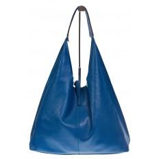 На фото 3 - Большая сумка хобо из натуральной кожи голубого цвета
