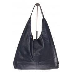 На фото 3 - Большая сумка хобо из натуральной кожи синего цвета
