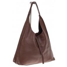 На фото 1 - Большая сумка хобо из натуральной кожи коричневого цвета
