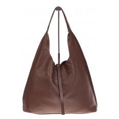 На фото 2 - Большая сумка хобо из натуральной кожи коричневого цвета