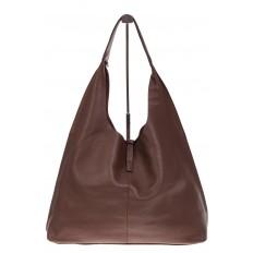 На фото 3 - Большая сумка хобо из натуральной кожи коричневого цвета