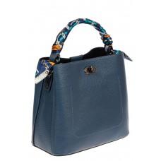 На фото 1 - Сумка кожаная женская с ярким твилли, цвет синий