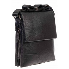На фото 1 - Мужская сумка-планшет из фактурной натуральной кожи, цвет чёрный