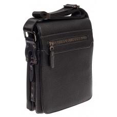 На фото 1 - Мужская сумка-мессенджер из фактурной натуральной кожи, цвет чёрный