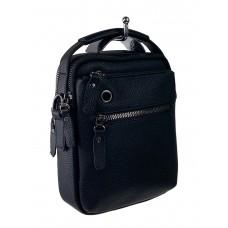 На фото 1 - Небольшая мужская сумка для документов из натуральной кожи, цвет чёрный