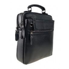 На фото 1 - Мужская деловая сумка из фактурной натуральной кожи, цвет чёрный