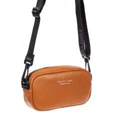 На фото 1 - Женская сумка-малышка из натуральной кожи на плечо, цвет рыжий