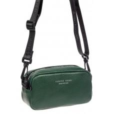 На фото 1 - Женская сумка-малышка из натуральной кожи на плечо, цвет зеленый