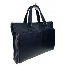 На фото 1 - Кожаный портфель для ноутбука и документов, цвет чёрный