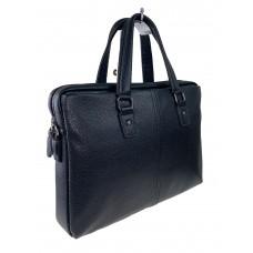 На фото 1 - Деловая сумка-портфель из натуральной кожи, цвет чёрный
