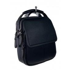 На фото 1 - Маленькая мужская сумка под документы из натуральной кожи, цвет чёрный