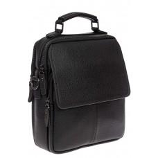 На фото 1 - Мужская сумка-почтальонка из фактурной натуральной кожи, цвет чёрный