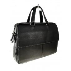 На фото 1 - Кожаный порфель для ноутбука и документов, цвет черный