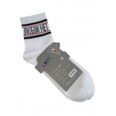 На фото 1 - Молодёжные носки с прикольной надписью, цвет белый с чёрным и красным