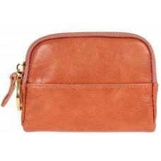 На фото 1 - Ключница-монетница из натуральной кожи, цвет оранжевый
