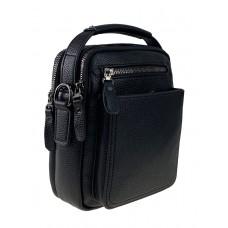 На фото 1 - Мужская маленькая сумка для документов из натуральной кожи, цвет чёрный