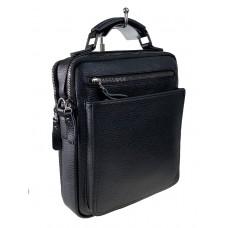 На фото 1 - Деловая мужская сумка из фактурной натуральной кожи, цвет чёрный