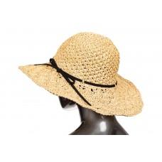 На фото 1 - Летняя шляпка с ажурным плетением бежевого цвета