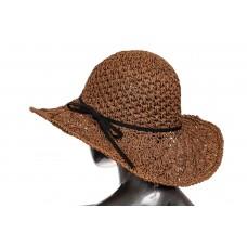 На фото 1 - Летняя шляпка с ажурным плетением шоколадного цвета