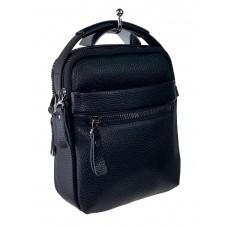 На фото 1 - Маленькая кожаная сумка для документов, цвет чёрный