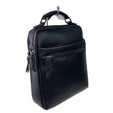 На фото 1 - Мужская сумка из фактурной натуральной кожи, цвет чёрный