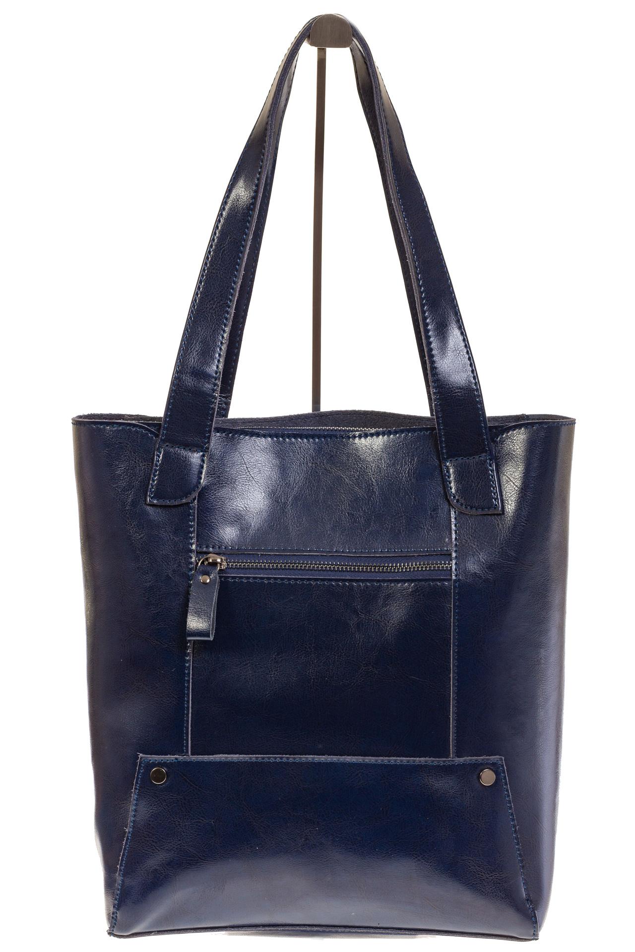 На фото 3 - Стильный шоппер синего цвета 822