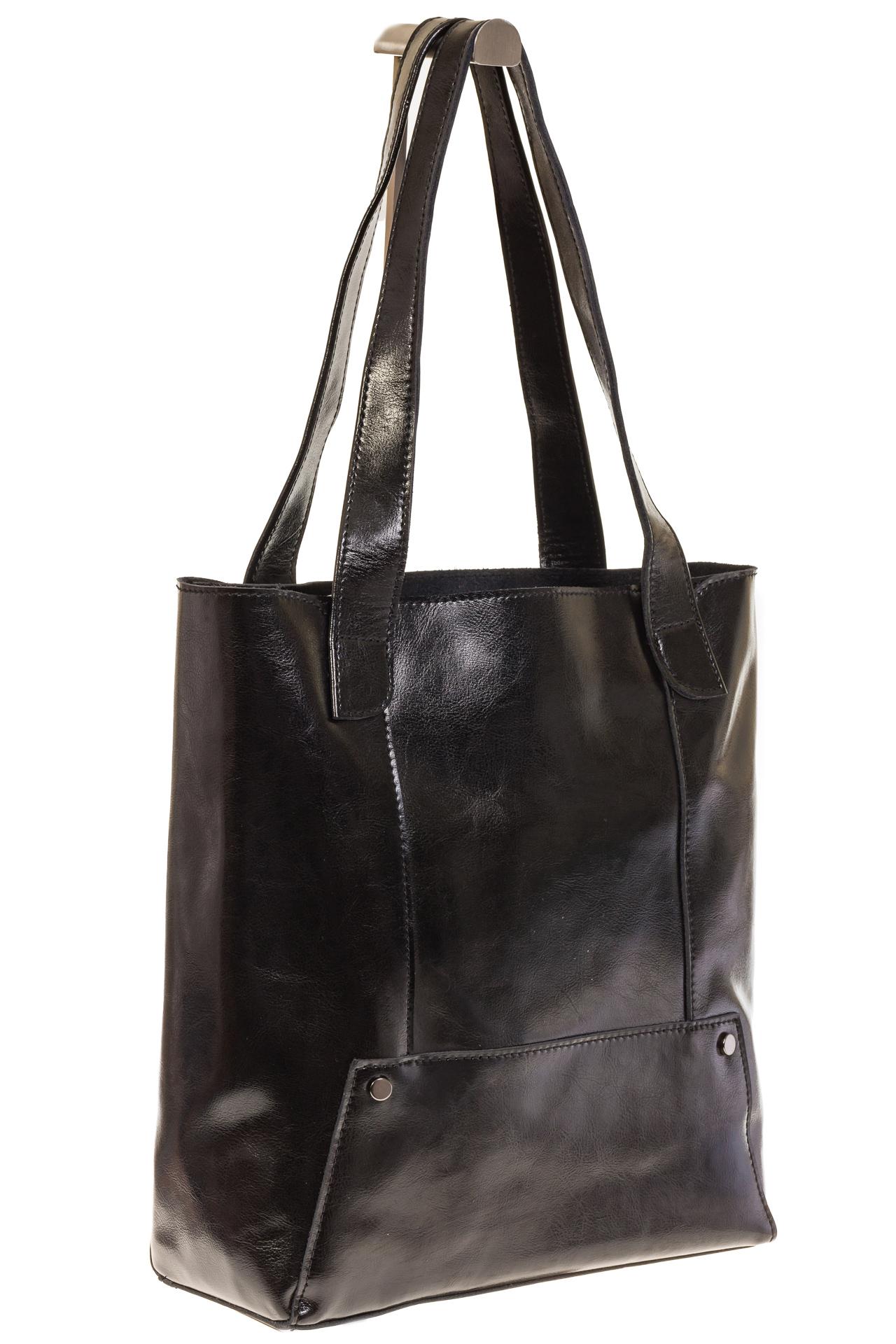 На фото 1 - Стильный шоппер черного цвета 822