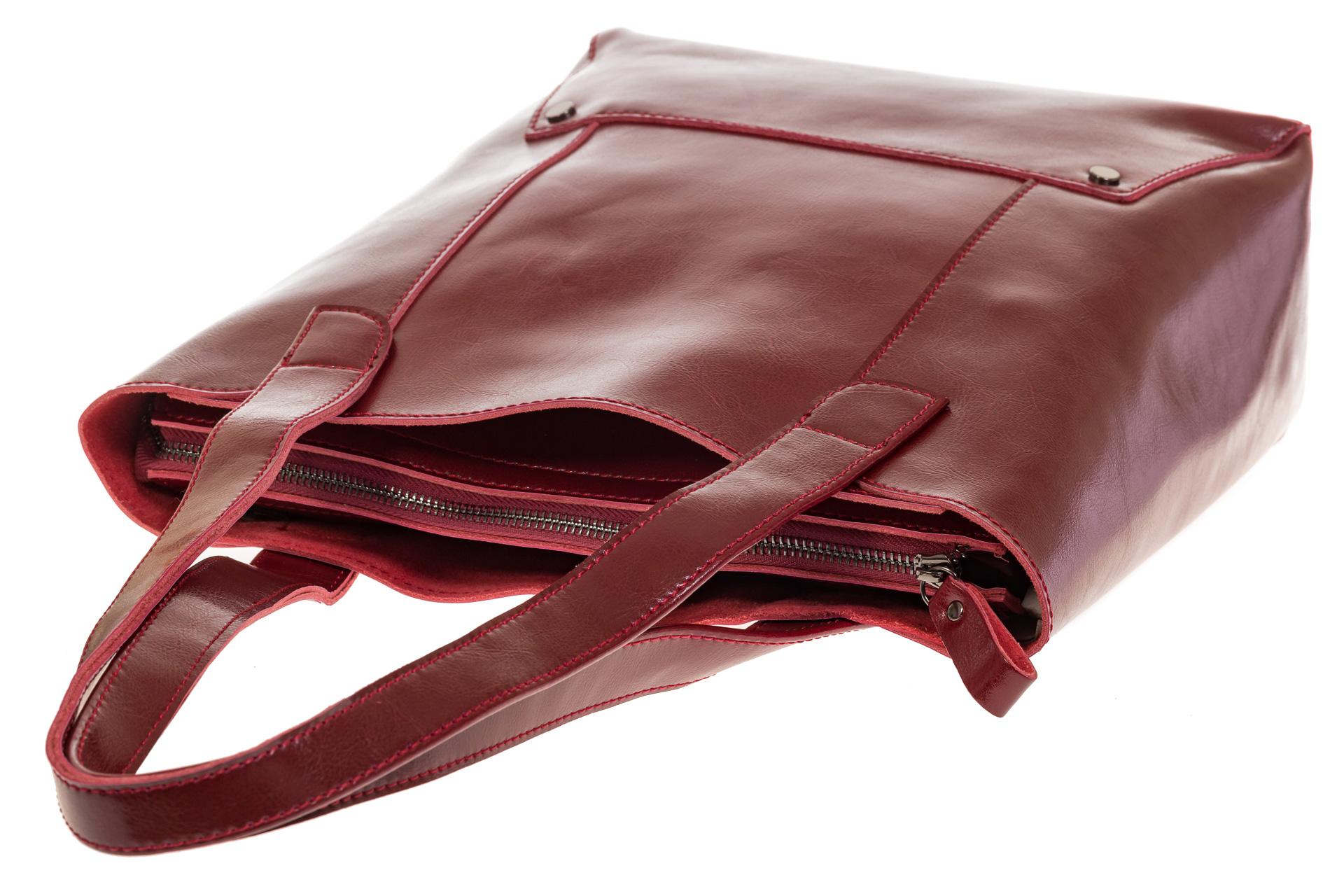 На фото 4 - Стильный шоппер цвета бордо 822