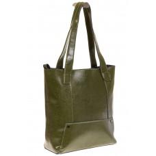На фото 1 - Стильный шоппер оливкого цвета 822