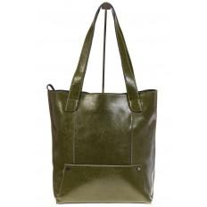На фото 2 - Стильный шоппер оливкого цвета 822