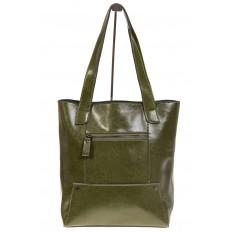 На фото 3 - Стильный шоппер оливкого цвета 822