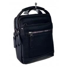 На фото 1 - Маленькая мужская сумка для документов из натуральной кожи, цвет чёрный